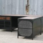 reclaimed wood L-desk