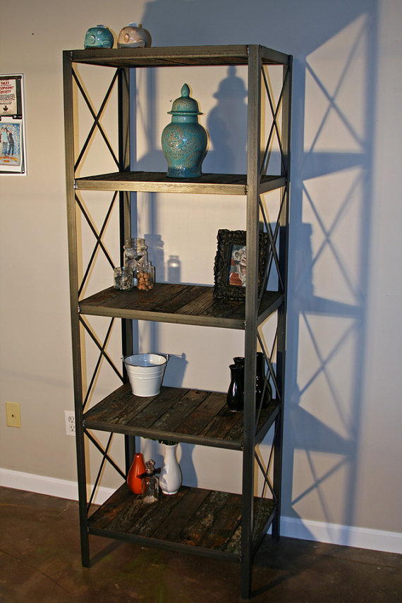 Reclaimed barge wood book shelf