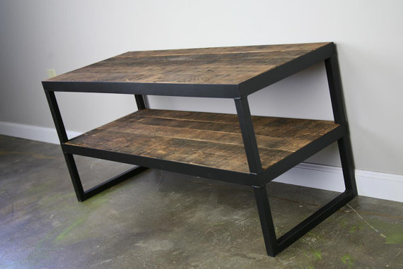 industrial tv stand. Reclaimed Wood TV Stand Industrial Tv L