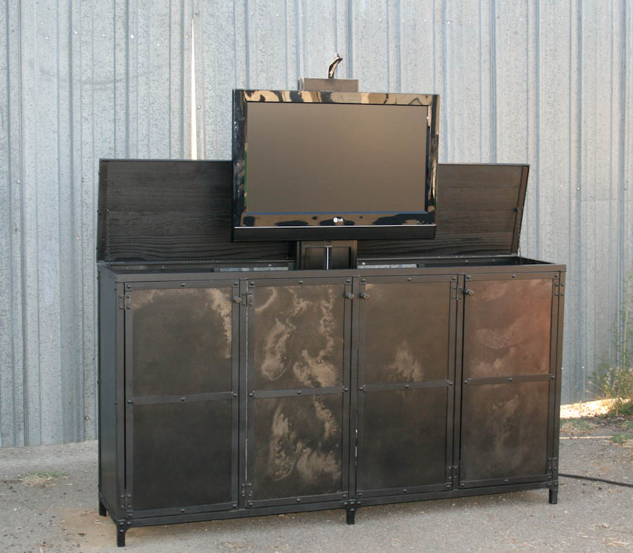 combine 9 industrial furniture industrial motorized tv lift cabinet. Black Bedroom Furniture Sets. Home Design Ideas