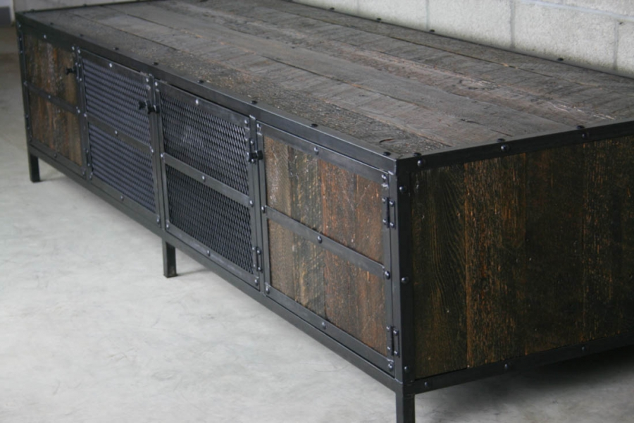 Recycled barnwood media console