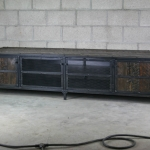 Industrial Dark wood media console
