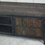 dark reclaimed wood media console
