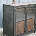 reclaimed wood and steel liquor cabinet