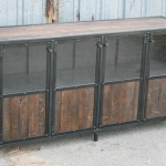 Industrial liquor cabinet with glass doors