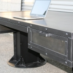 industrial I-Beam desk with drawers