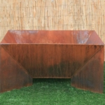 modern steel angled fire pit