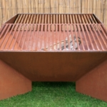 angled fire pit with surround