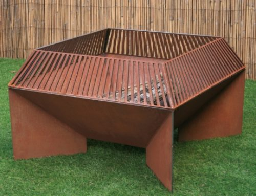 Modern Fire Pit, Angled Fire Pit With Surround, Outdoor Fireplace