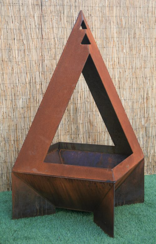 modern steel chiminea
