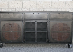 Industrial reclaimed wood credenza