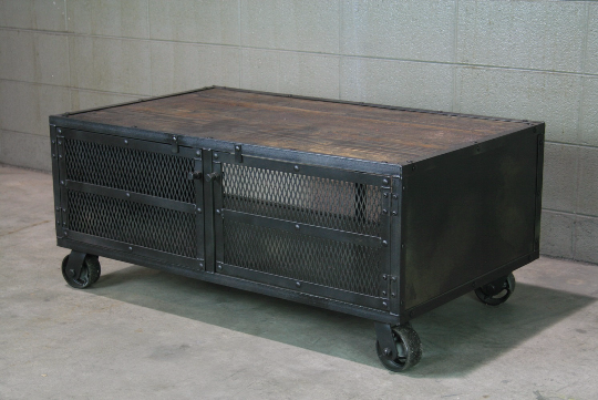 mid century industrial furniture. Industrial Coffee Table With Casters Mid Century Furniture T