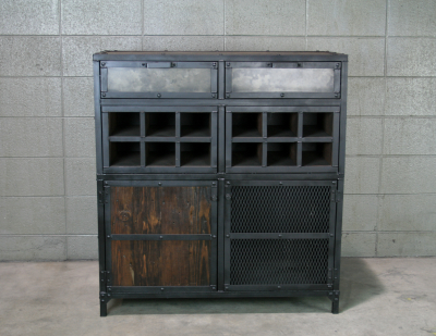 modern industrial bar cabinet