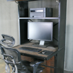 modern computer work station with storage