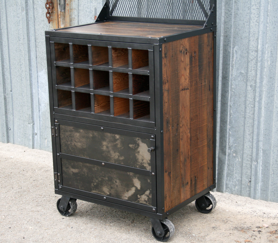 Liquor Storage With Storage. Industrial Bar Cart