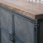 industrial steel door media console