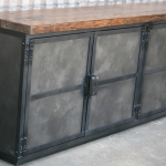 modern reclaimed wood top credenza