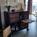 Reclaimed wood liquor cabinet