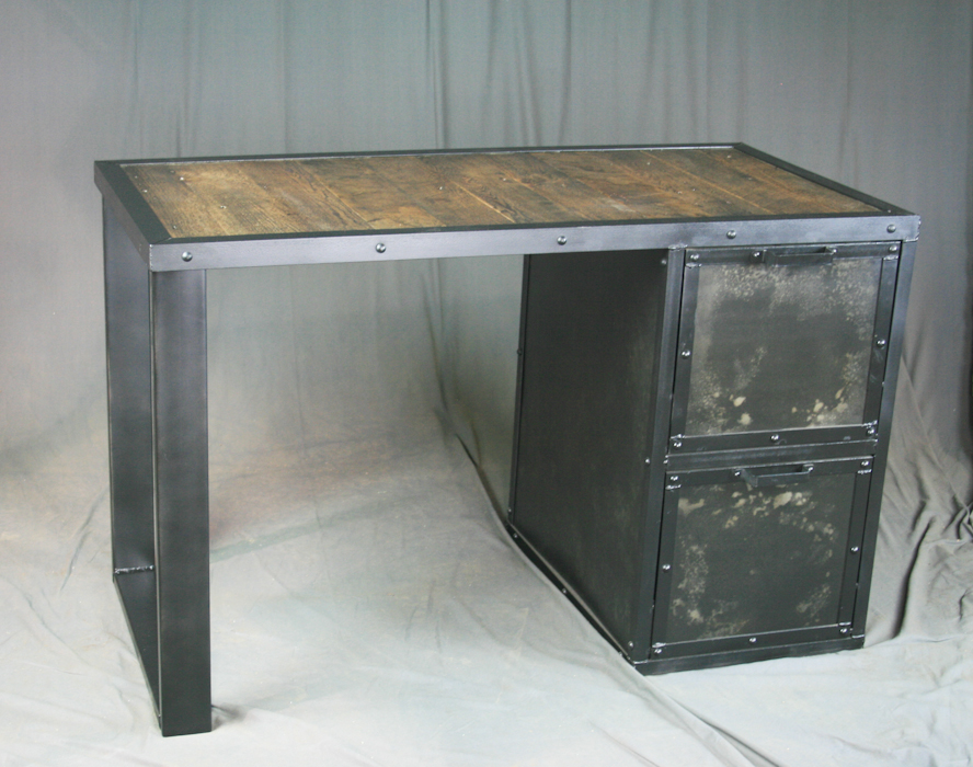 Industrial Desk With Filing Cabinet