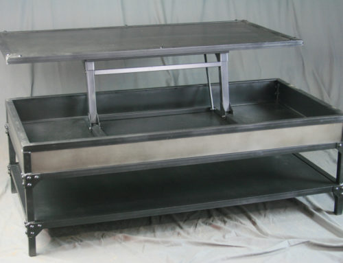 Vintage Industrial Steel Lift Top Coffee Table