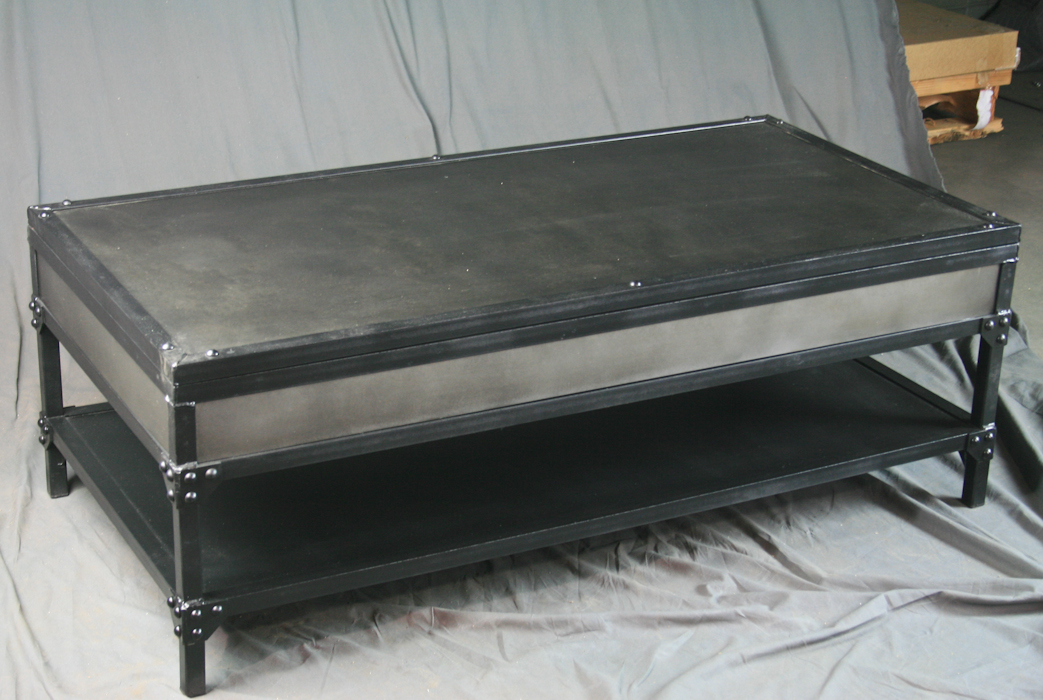 Industrial Lift Top Coffee Table With Steel Top