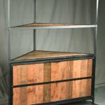 Industrial corner bookcase