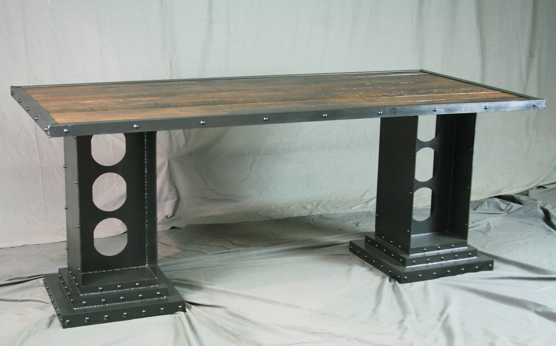 Modern Industrial Table with I-beam legs