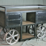 Reclaimed Wood Trolley Bar Cart
