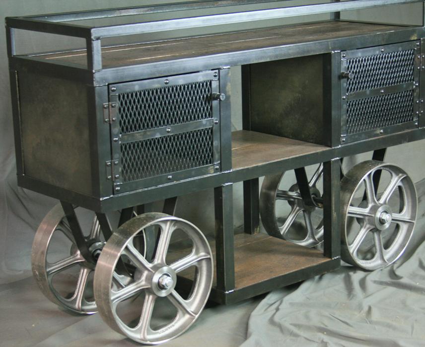 Reclaimed Wood Industrial Trolley Bar Cart Combine 9