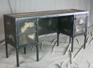 Industrial Desk with Side Cabinet Storage