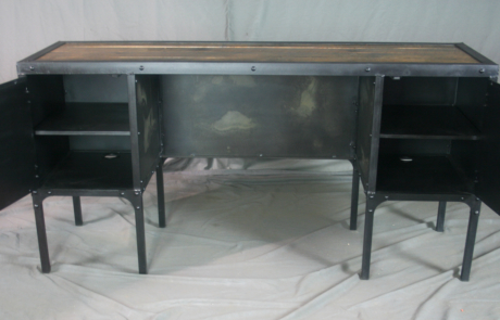 Industrial Desk with Side Cabinet Storage