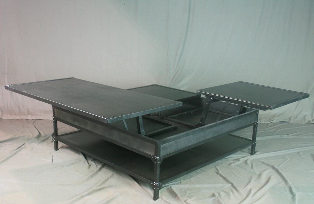 Combine 9 Industrial Furniture Vintage Industrial Steel Lift Top Coffee Table