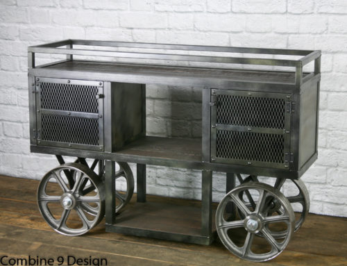 Reclaimed Wood, Industrial Trolley – Bar Cart