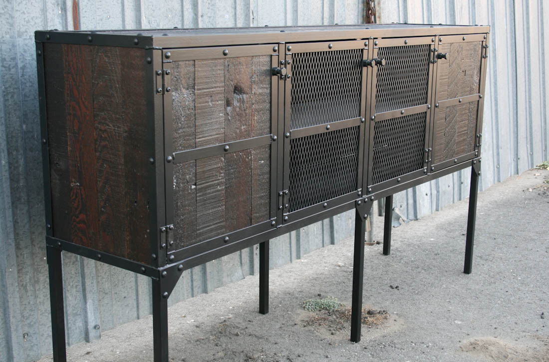 Reclaimed Wood Sideboard ~ Combine industrial furniture tall leg reclaimed wood