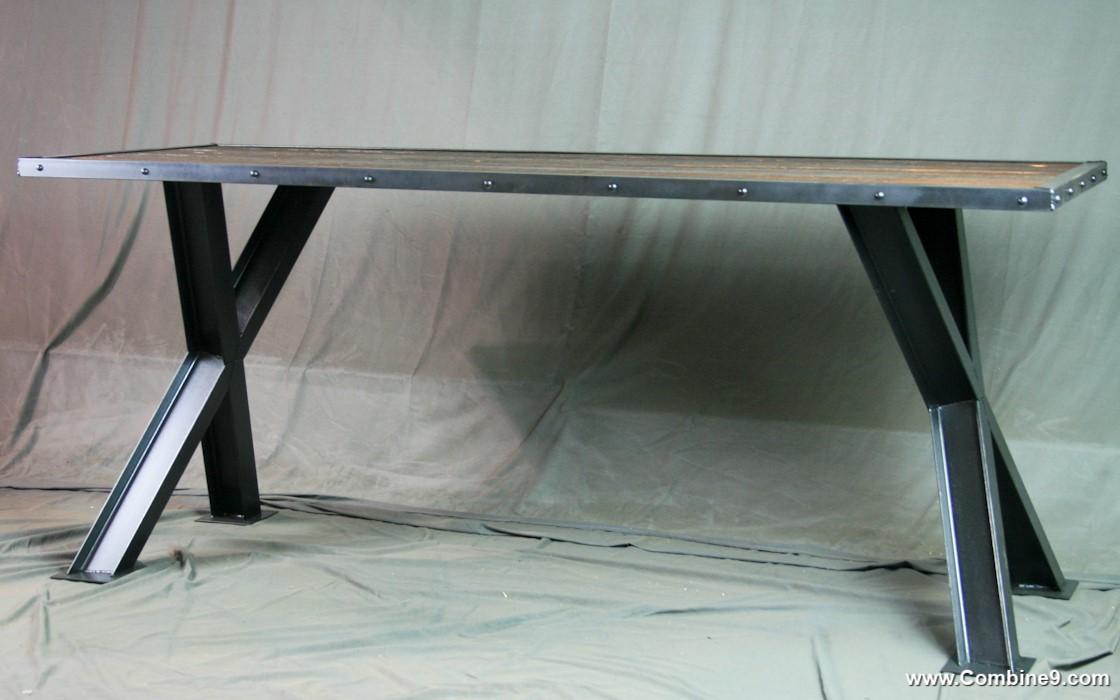 Combine 9 Industrial Furniture Industrial Cross Beam Table