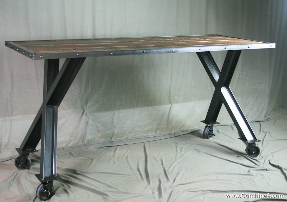 Combine 9 Industrial Furniture Industrial Cross Beam Table