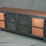 Industrial Copper Media Center with Center Shelf