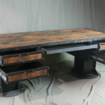 Wood and Steel Industrial Style Desk with Storage