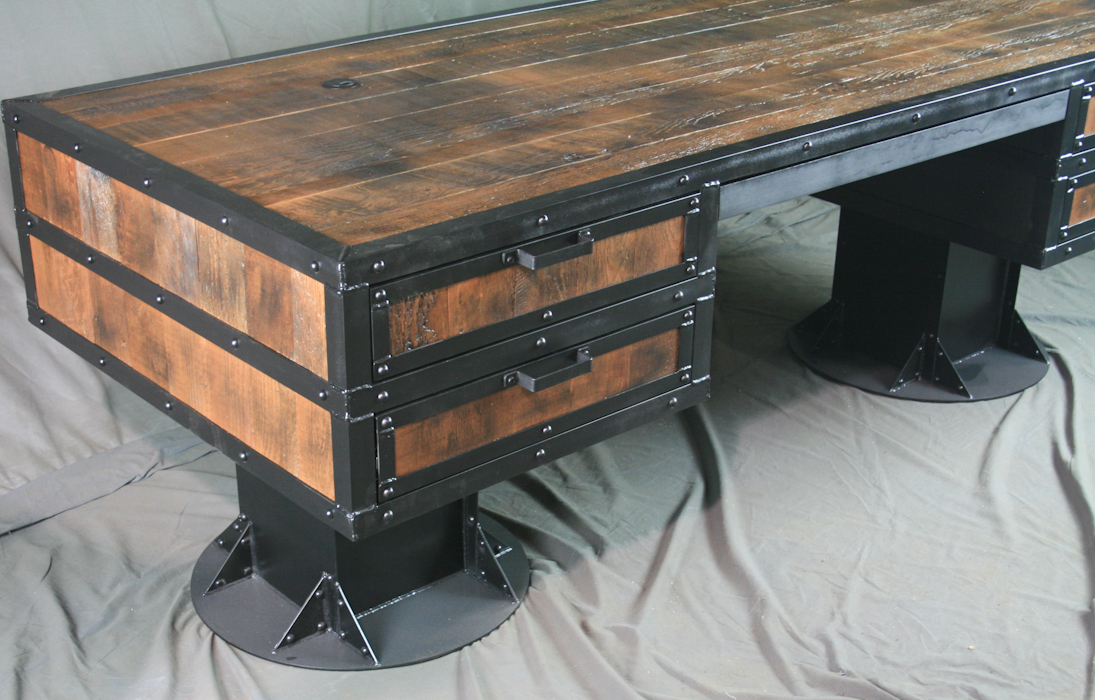rustic desk with drawers rustic iron rustic industrial desk with reclaimed wood combine industrial furniture