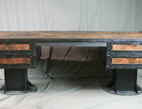 Vintage Industrial Reclaimed Wood Desk with Drawers