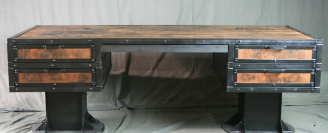 Vintage Architectural Style Desk with Wood and Steel