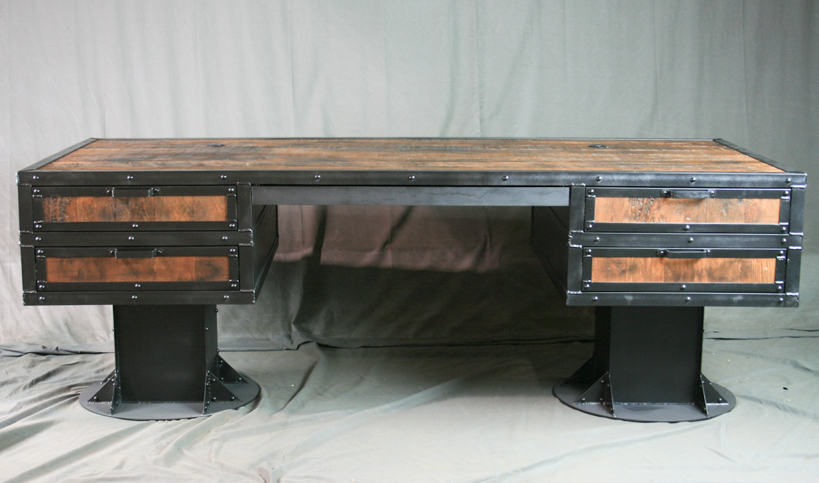 Combine 9 Industrial Furniture Vintage Industrial Wooden Desk With Drawers