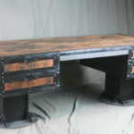French Industrial Desk Made of Steel and Reclaimed Wood