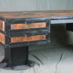 Vintage Industrial Desk with Drawers