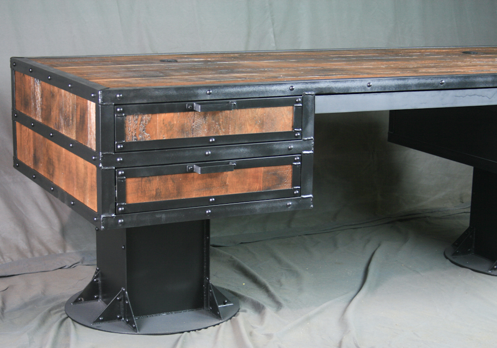 industrial furniture rustic industrial desk with reclaimed wood 5