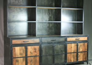 Vintage Industrial Hutch with Drawers