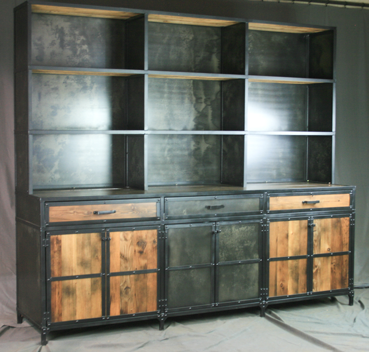rustic reclaimed wood credenza with hutch