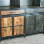reclaimed wood cabinet with Hutch