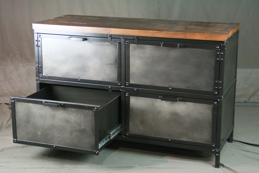 Industrial Style Storage Cabinet With File Drawers