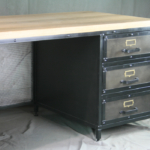 Vintage Industrial Desk with Wood Top
